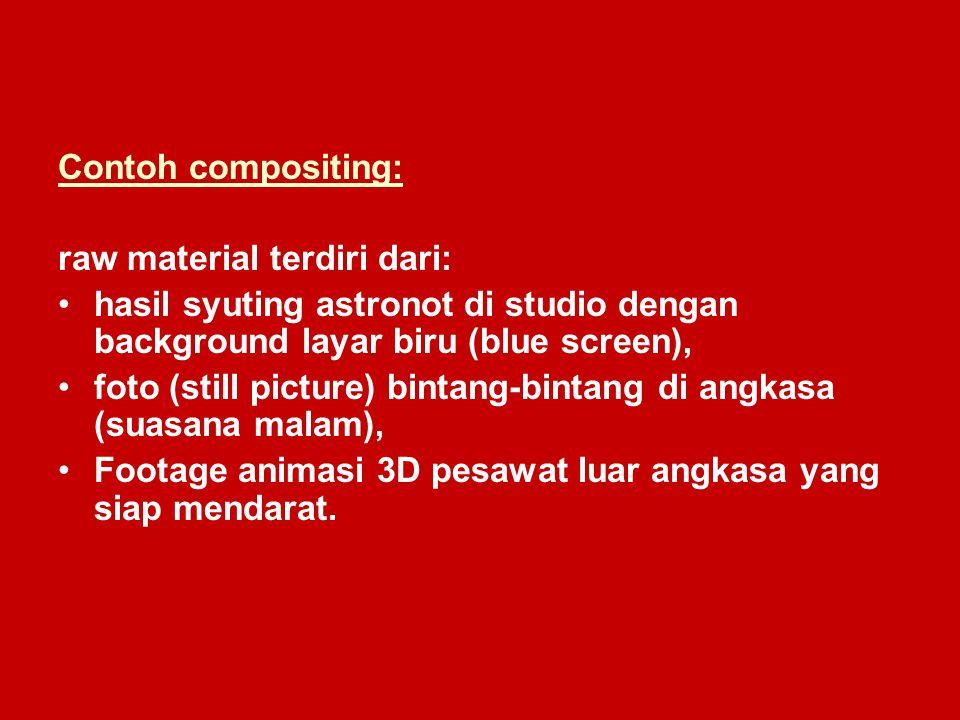 Contoh compositing: raw material terdiri dari: hasil syuting astronot di studio dengan background layar biru (blue screen),