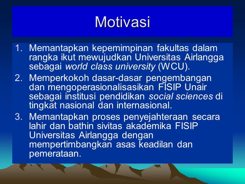 Motivasi Memantapkan kepemimpinan fakultas dalam rangka ikut mewujudkan Universitas Airlangga sebagai world class university (WCU).