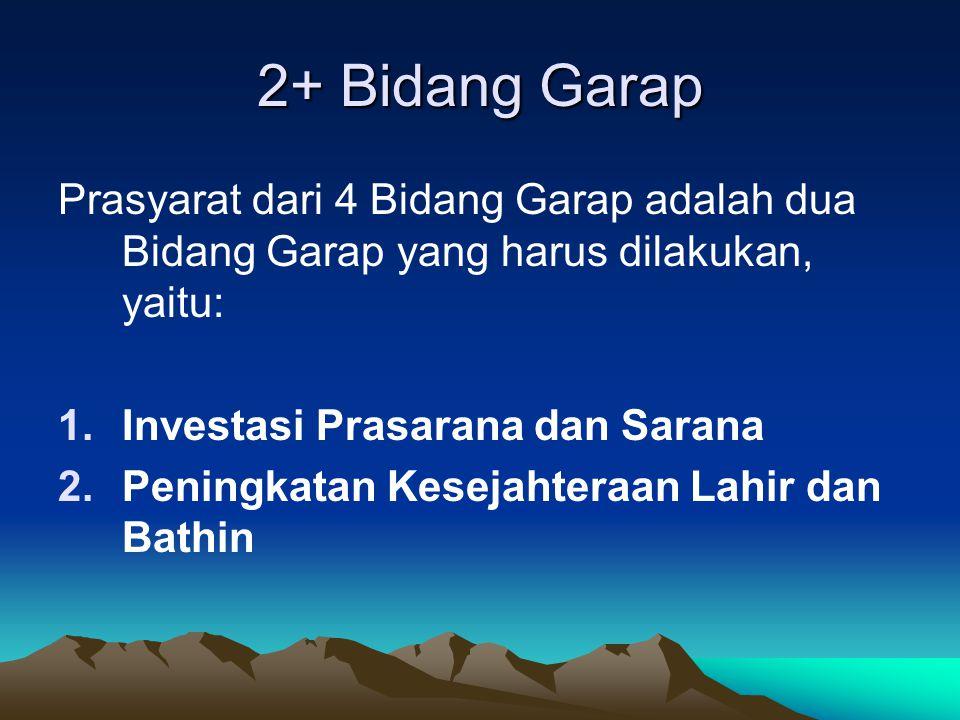 2+ Bidang Garap Prasyarat dari 4 Bidang Garap adalah dua Bidang Garap yang harus dilakukan, yaitu: Investasi Prasarana dan Sarana.