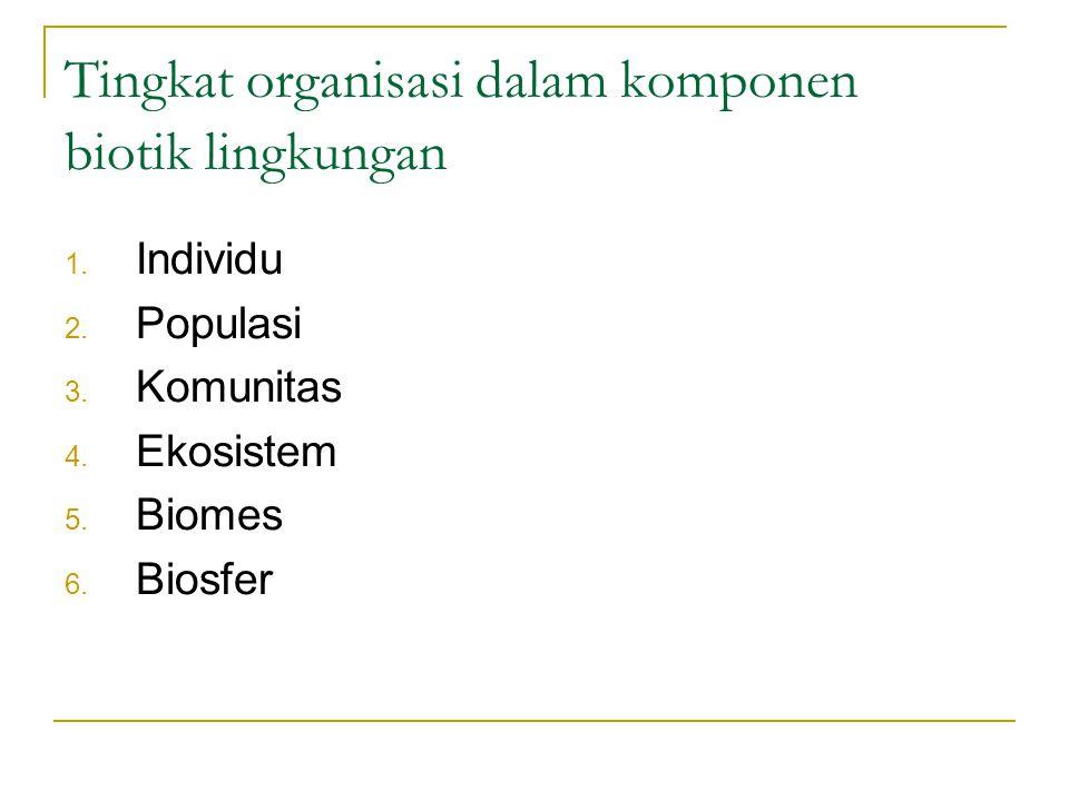 Tingkat organisasi dalam komponen biotik lingkungan