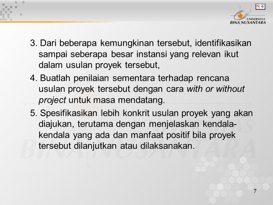 3. Dari beberapa kemungkinan tersebut, identifikasikan sampai seberapa besar instansi yang relevan ikut dalam usulan proyek tersebut,