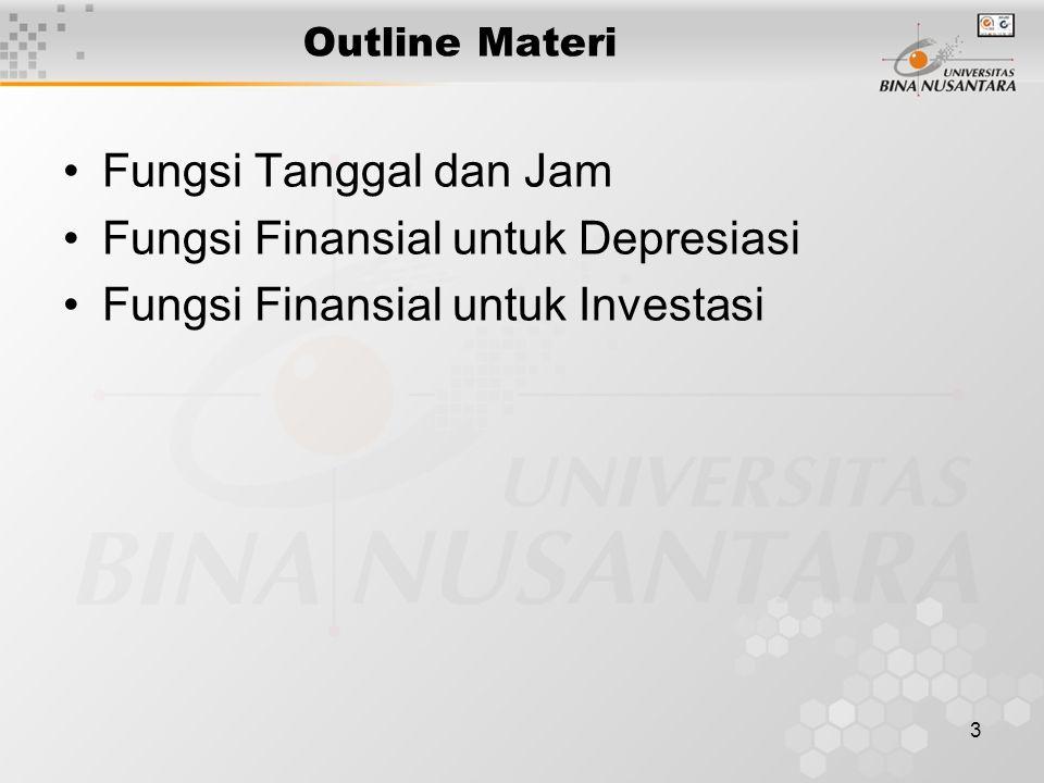 Fungsi Finansial untuk Depresiasi Fungsi Finansial untuk Investasi