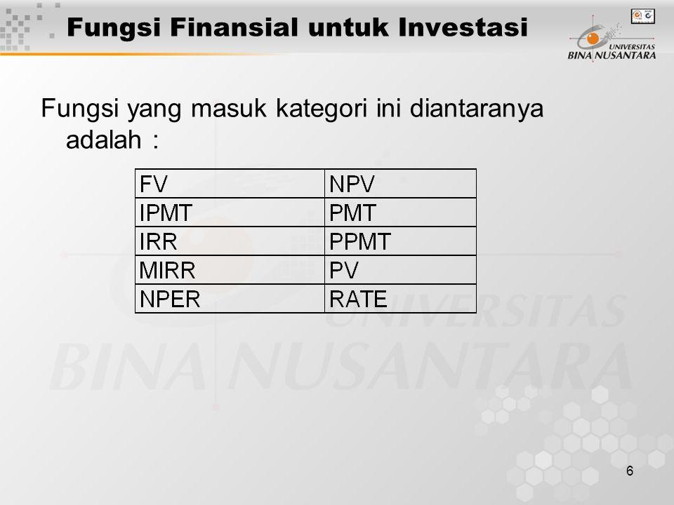 Fungsi Finansial untuk Investasi