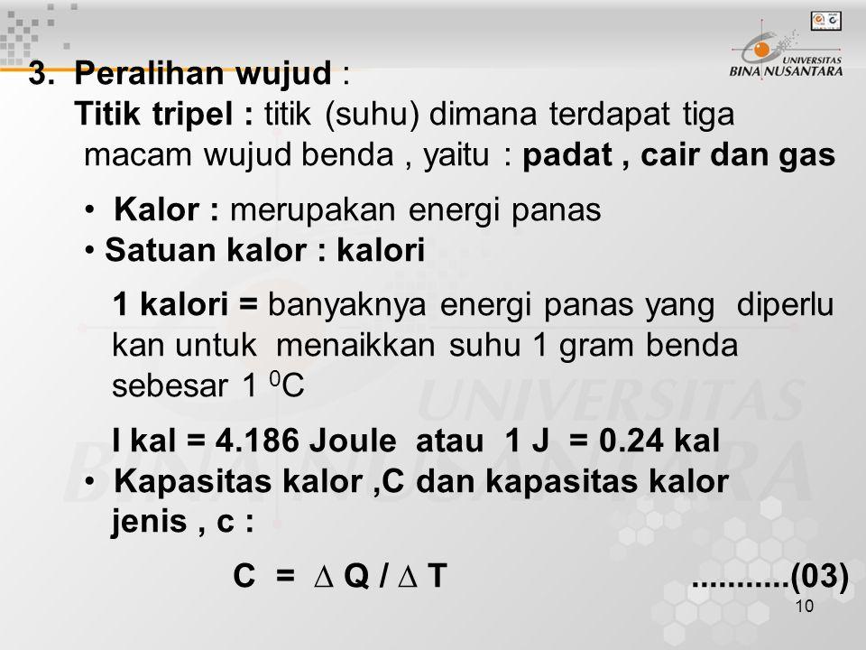 3. Peralihan wujud : Titik tripel : titik (suhu) dimana terdapat tiga. macam wujud benda , yaitu : padat , cair dan gas.
