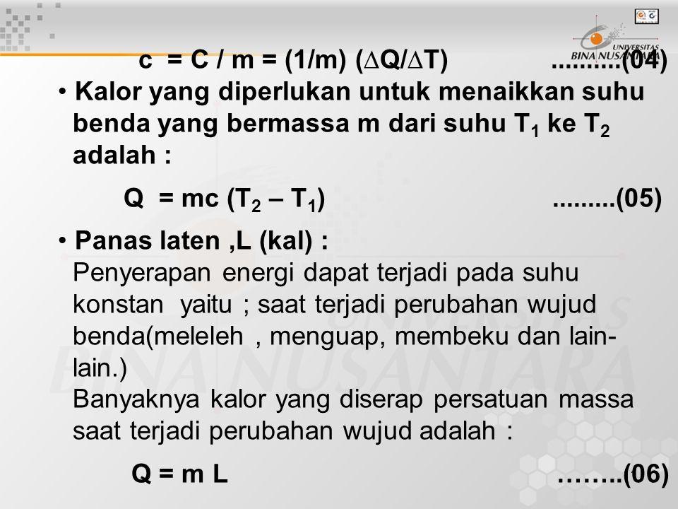 c = C / m = (1/m) (∆Q/∆T) ..........(04) • Kalor yang diperlukan untuk menaikkan suhu.