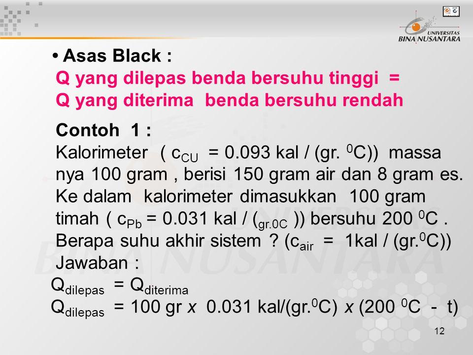 • Asas Black : Q yang dilepas benda bersuhu tinggi = Q yang diterima benda bersuhu rendah. Contoh 1 :