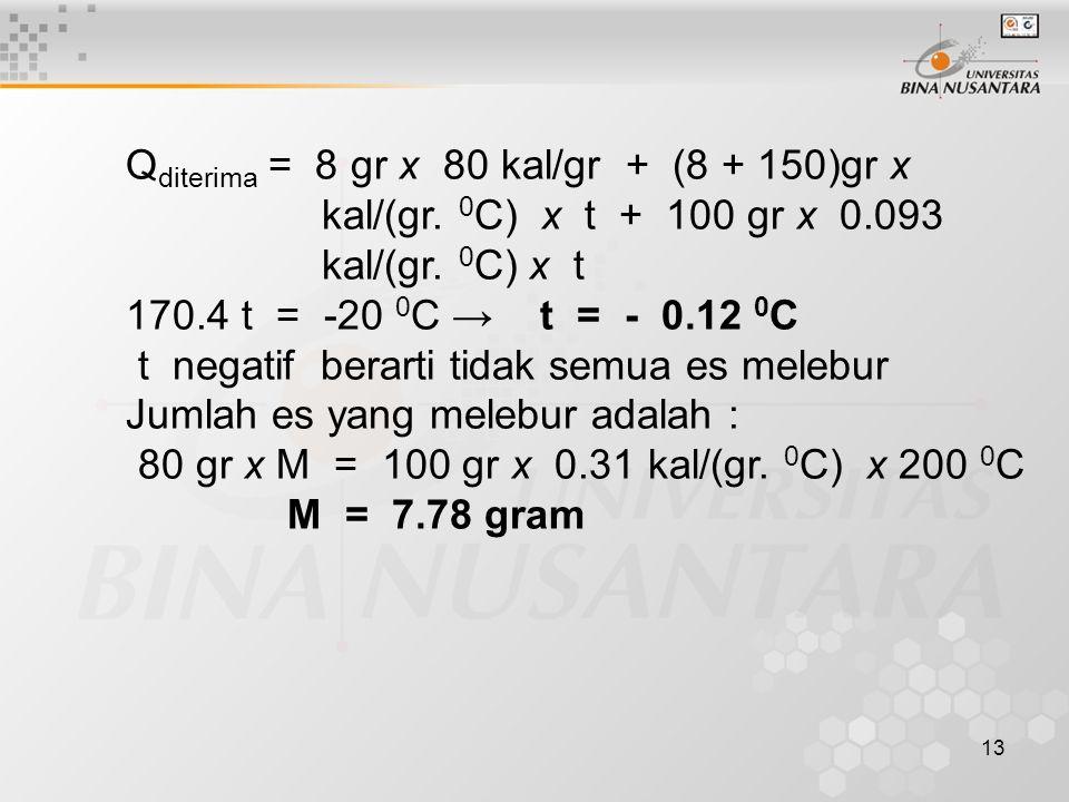 Qditerima = 8 gr x 80 kal/gr + (8 + 150)gr x