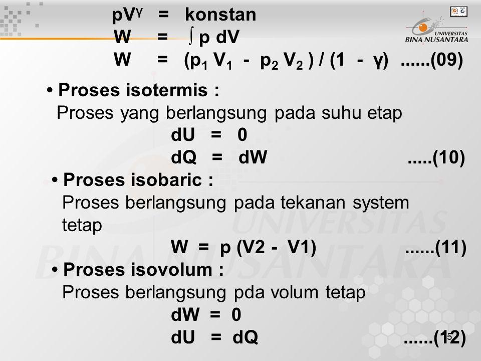 pVγ = konstan W = ∫ p dV. W = (p1 V1 - p2 V2 ) / (1 - γ) ......(09) • Proses isotermis :