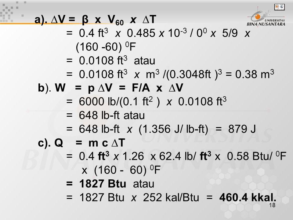 a). ∆V = β x V60 x ∆T = 0.4 ft3 x 0.485 x 10-3 / 00 x 5/9 x. (160 -60) 0F. = 0.0108 ft3 atau.
