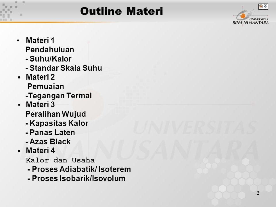 Outline Materi • Materi 1 Pendahuluan - Suhu/Kalor