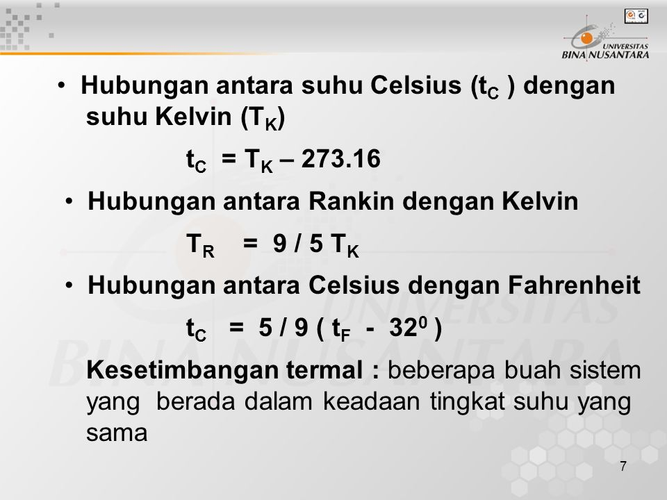 • Hubungan antara suhu Celsius (tC ) dengan