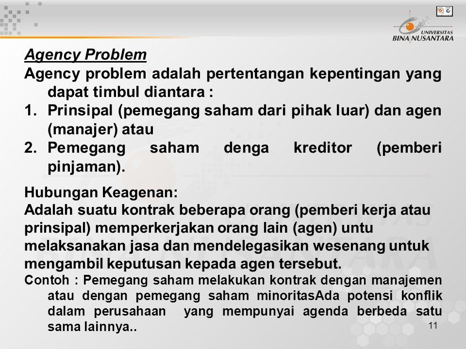 Prinsipal (pemegang saham dari pihak luar) dan agen (manajer) atau