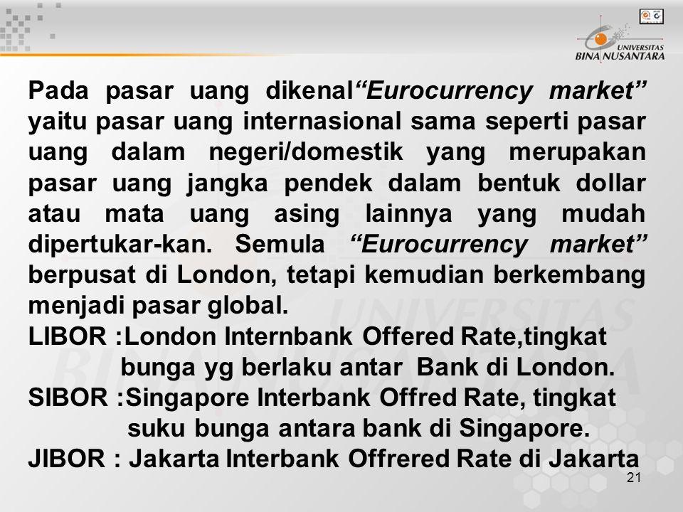 Pada pasar uang dikenal Eurocurrency market yaitu pasar uang internasional sama seperti pasar uang dalam negeri/domestik yang merupakan pasar uang jangka pendek dalam bentuk dollar atau mata uang asing lainnya yang mudah dipertukar-kan. Semula Eurocurrency market berpusat di London, tetapi kemudian berkembang menjadi pasar global.