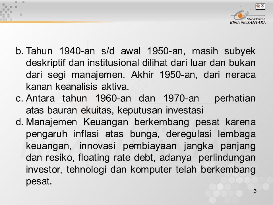 Tahun 1940-an s/d awal 1950-an, masih subyek deskriptif dan institusional dilihat dari luar dan bukan dari segi manajemen. Akhir 1950-an, dari neraca kanan keanalisis aktiva.