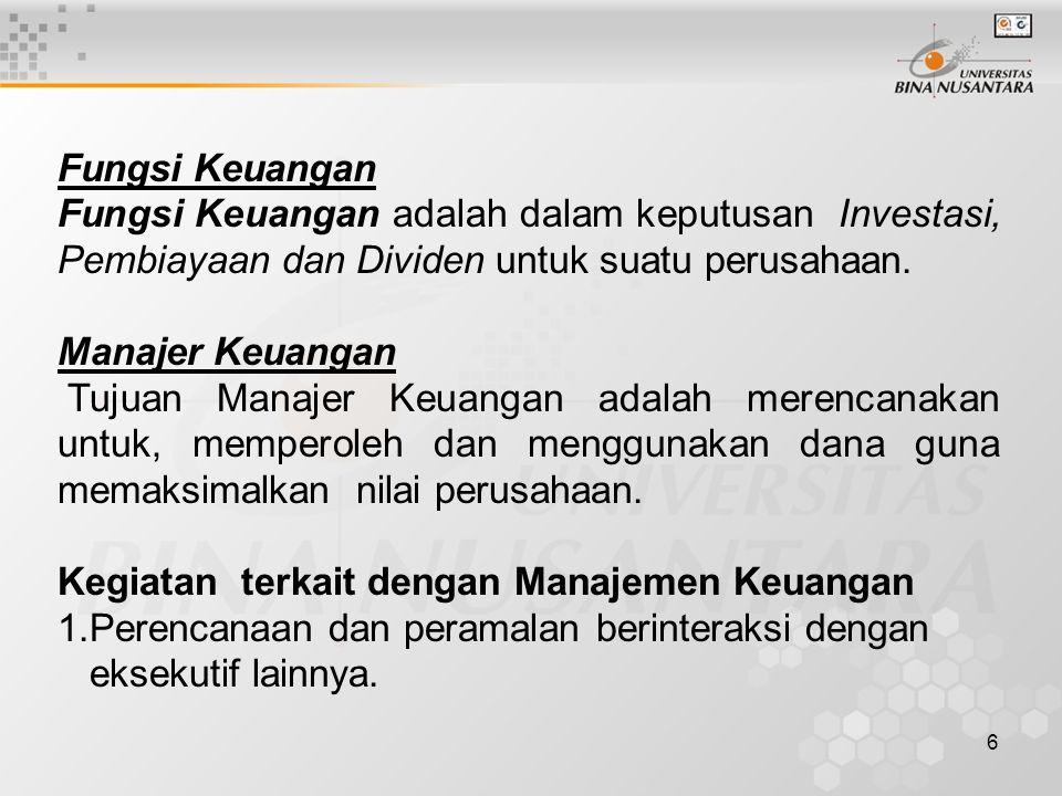 Fungsi Keuangan Fungsi Keuangan adalah dalam keputusan Investasi, Pembiayaan dan Dividen untuk suatu perusahaan.