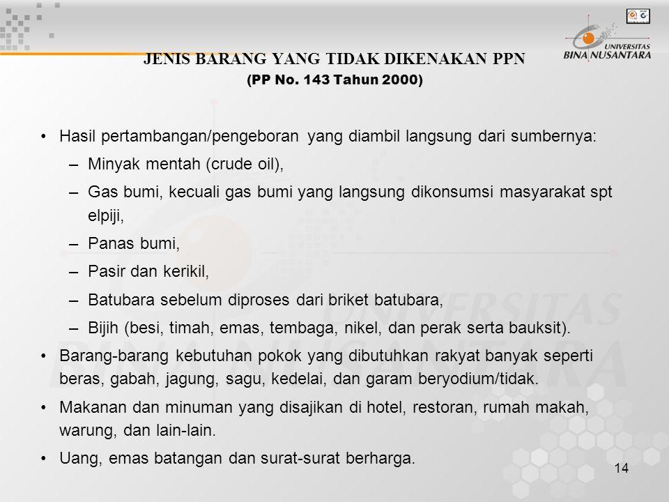 JENIS BARANG YANG TIDAK DIKENAKAN PPN (PP No. 143 Tahun 2000)