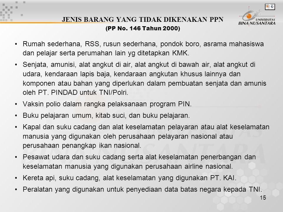 JENIS BARANG YANG TIDAK DIKENAKAN PPN (PP No. 146 Tahun 2000)