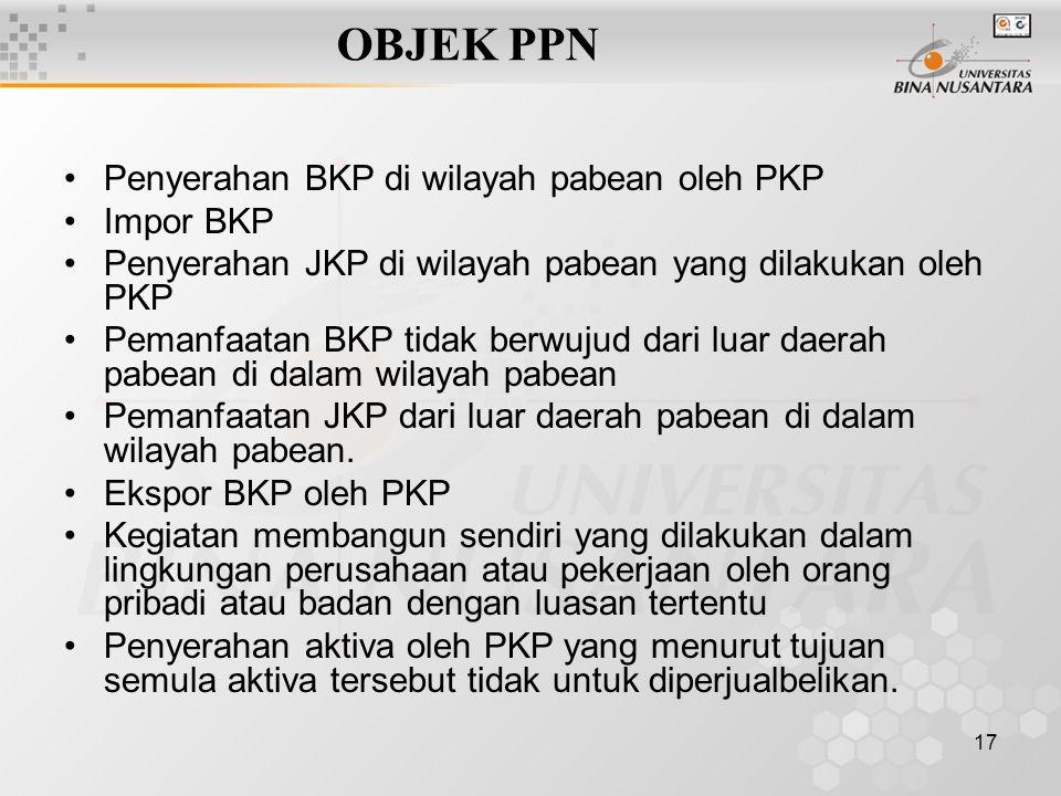 OBJEK PPN Penyerahan BKP di wilayah pabean oleh PKP Impor BKP