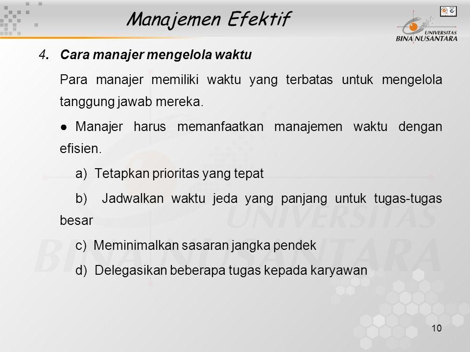 Manajemen Efektif 4. Cara manajer mengelola waktu. Para manajer memiliki waktu yang terbatas untuk mengelola tanggung jawab mereka.