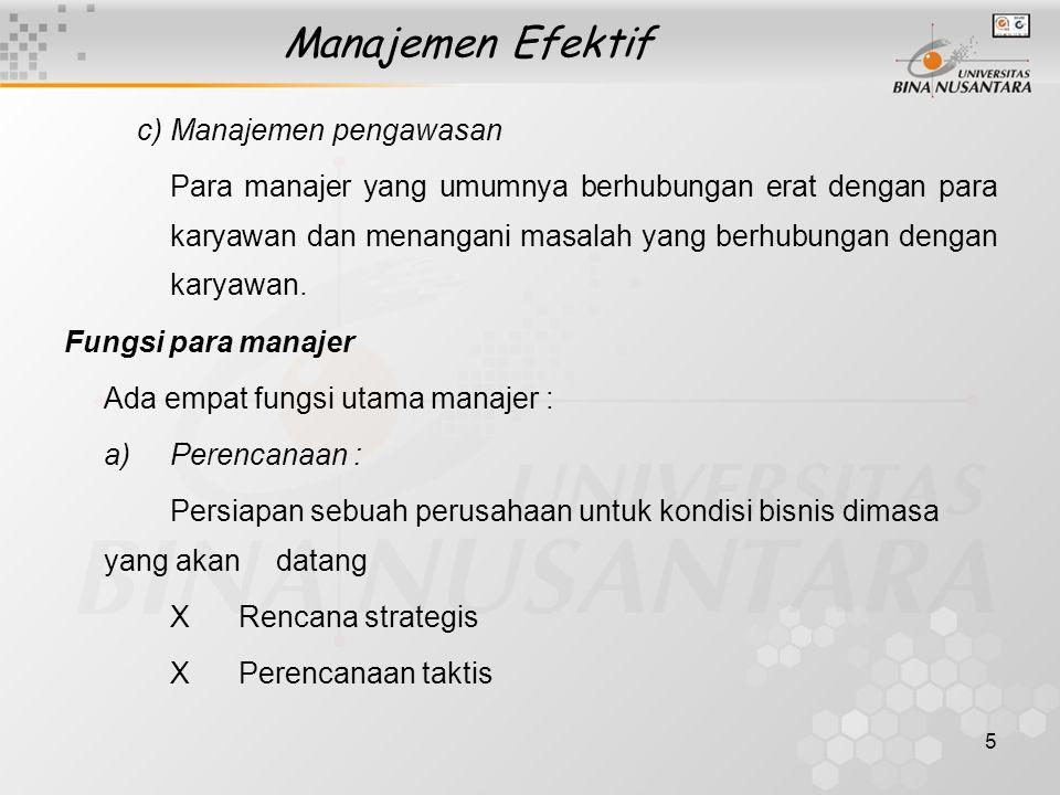 Manajemen Efektif c) Manajemen pengawasan
