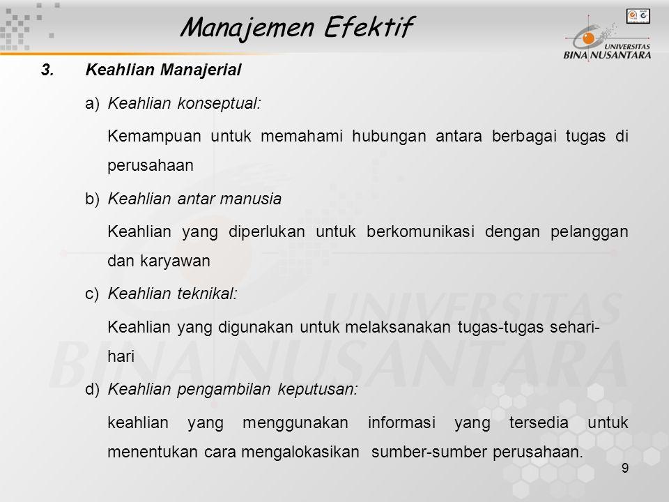Manajemen Efektif Keahlian Manajerial a) Keahlian konseptual:
