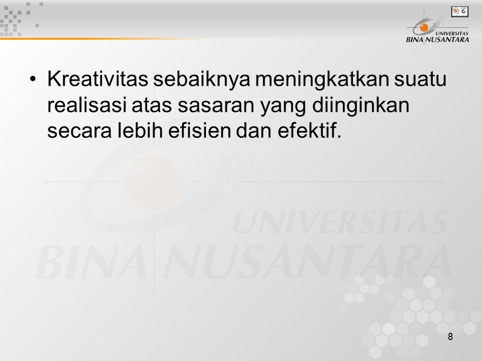 Kreativitas sebaiknya meningkatkan suatu realisasi atas sasaran yang diinginkan secara lebih efisien dan efektif.