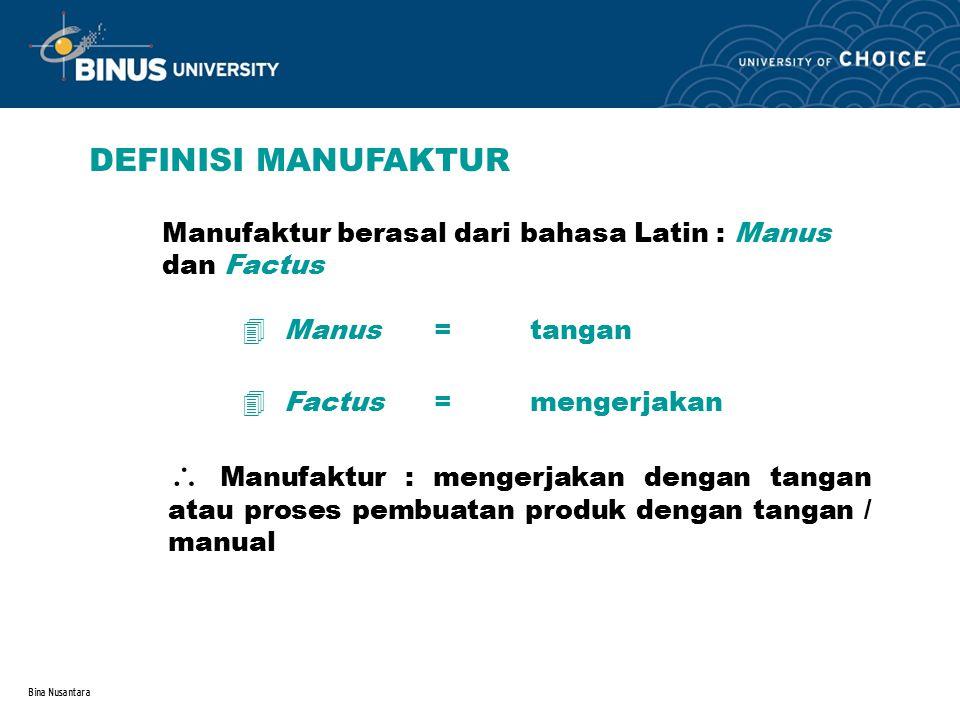 DEFINISI MANUFAKTUR Manufaktur berasal dari bahasa Latin : Manus dan Factus. Manus = tangan. Factus = mengerjakan.