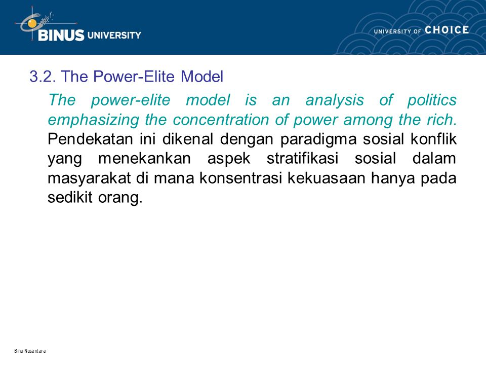 3.2. The Power-Elite Model