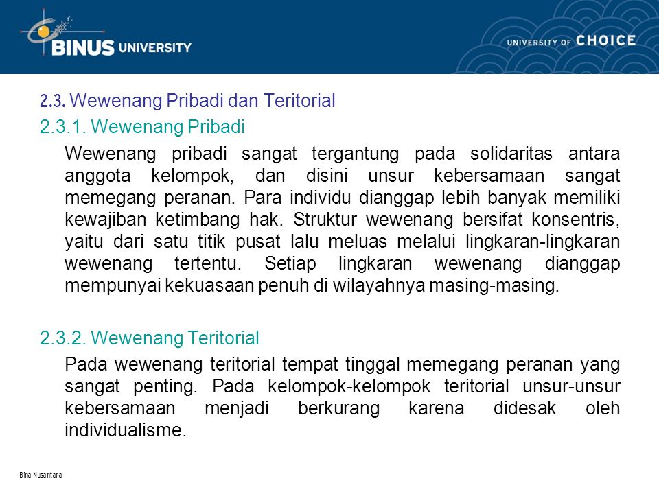 2.3. Wewenang Pribadi dan Teritorial 2.3.1. Wewenang Pribadi