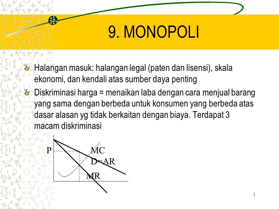 9. MONOPOLI Halangan masuk: halangan legal (paten dan lisensi), skala ekonomi, dan kendali atas sumber daya penting.