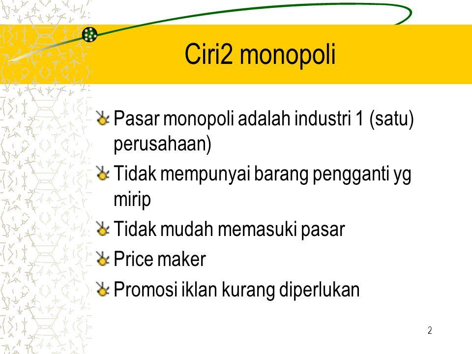 Ciri2 monopoli Pasar monopoli adalah industri 1 (satu) perusahaan)