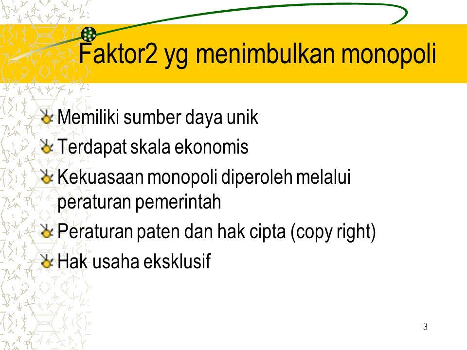 Faktor2 yg menimbulkan monopoli