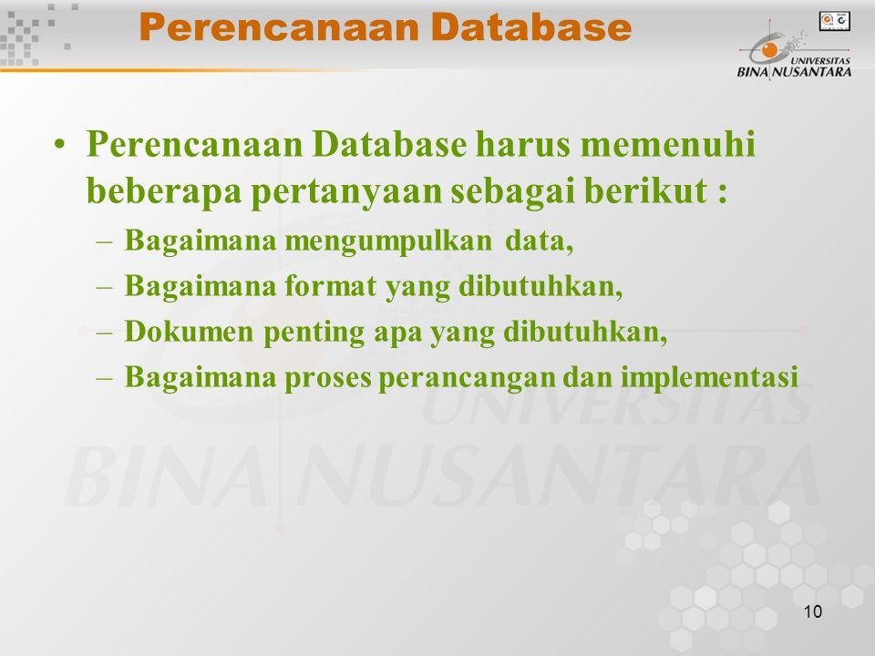 Perencanaan Database Perencanaan Database harus memenuhi beberapa pertanyaan sebagai berikut : Bagaimana mengumpulkan data,