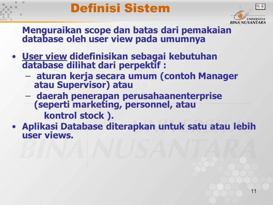 Definisi Sistem Menguraikan scope dan batas dari pemakaian database oleh user view pada umumnya.