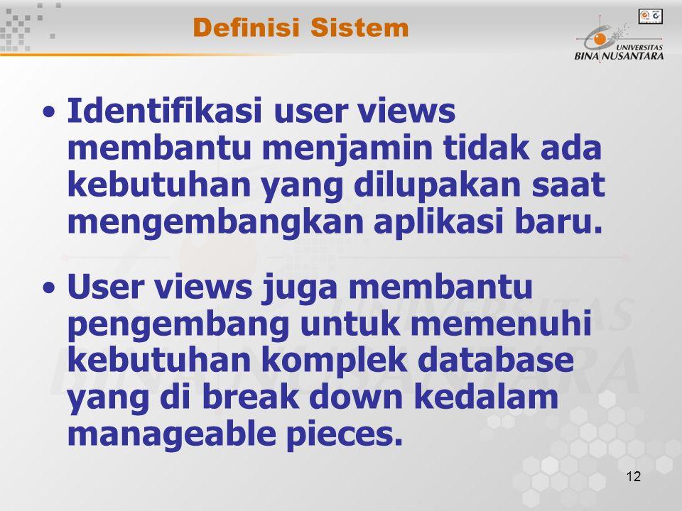 Definisi Sistem Identifikasi user views membantu menjamin tidak ada kebutuhan yang dilupakan saat mengembangkan aplikasi baru.