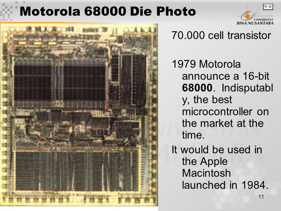 Motorola 68000 Die Photo 70.000 cell transistor