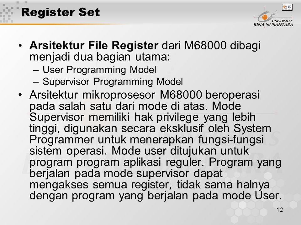 Arsitektur File Register dari M68000 dibagi menjadi dua bagian utama: