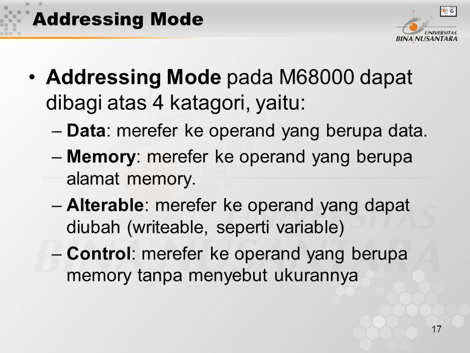Addressing Mode pada M68000 dapat dibagi atas 4 katagori, yaitu:
