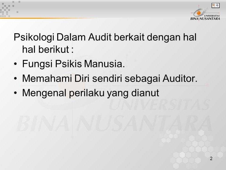 Psikologi Dalam Audit berkait dengan hal hal berikut :