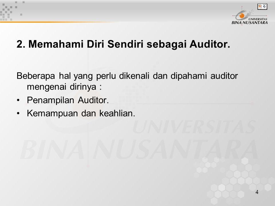 2. Memahami Diri Sendiri sebagai Auditor.