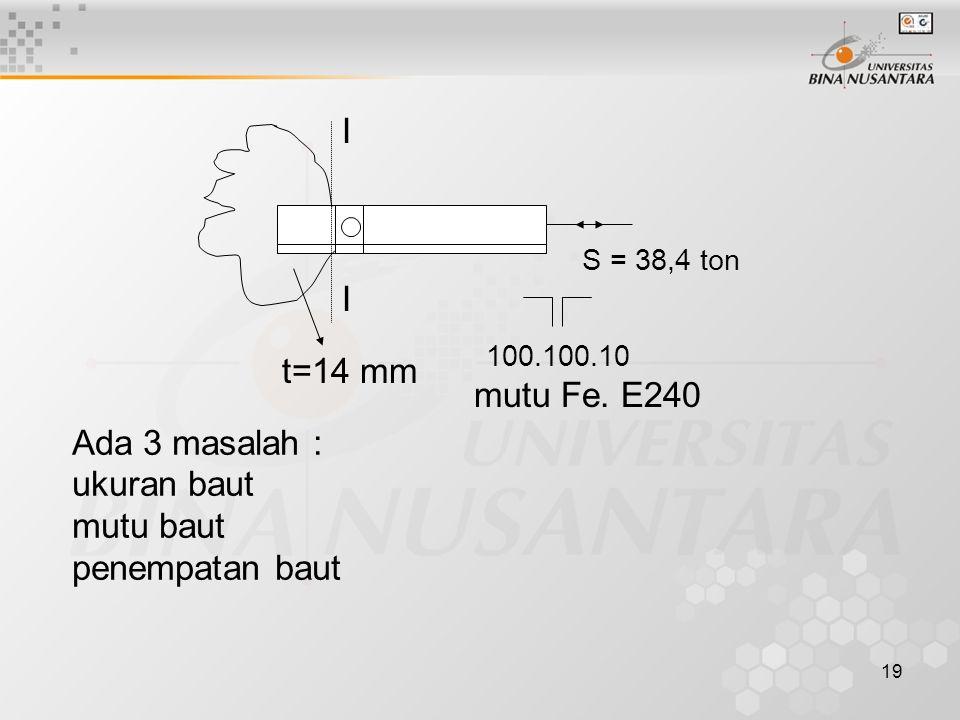 I t=14 mm mutu Fe. E240 Ada 3 masalah : ukuran baut mutu baut