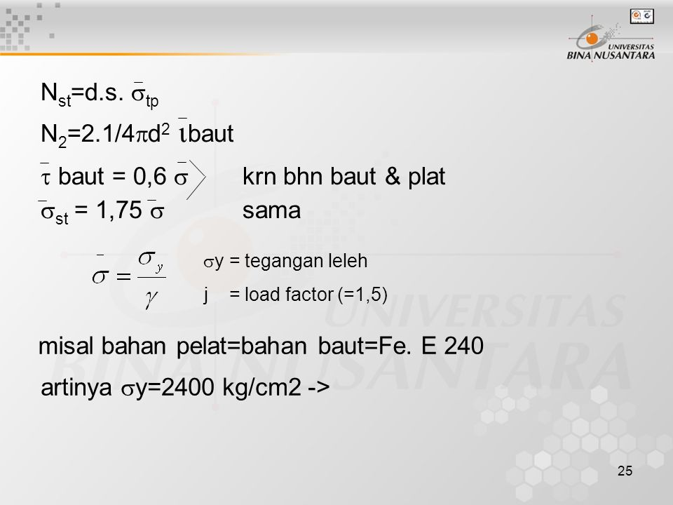  baut = 0,6  krn bhn baut & plat st = 1,75  sama