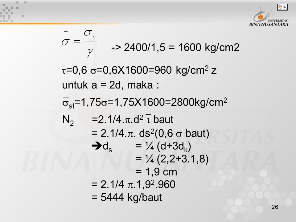 -> 2400/1,5 = 1600 kg/cm2 =0,6 =0,6X1600=960 kg/cm2 z. untuk a = 2d, maka : st=1,75=1,75X1600=2800kg/cm2.