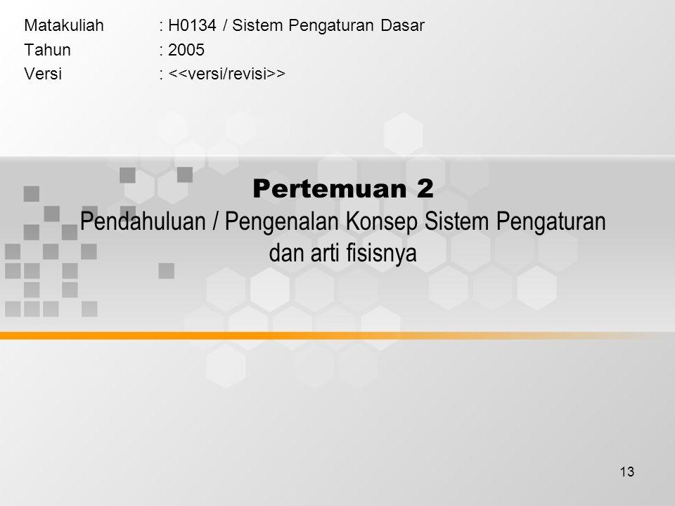 Matakuliah : H0134 / Sistem Pengaturan Dasar