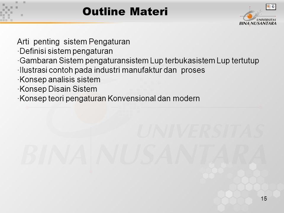 Outline Materi Arti penting sistem Pengaturan