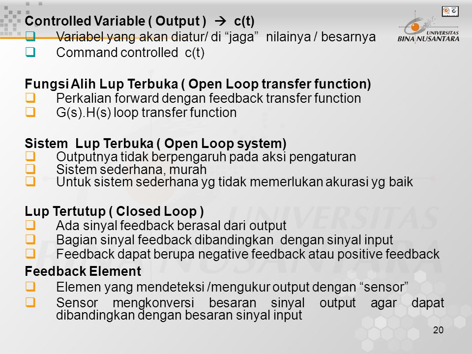 Controlled Variable ( Output )  c(t)