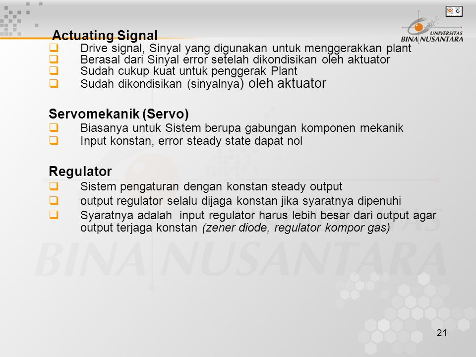 Actuating Signal Servomekanik (Servo) Regulator