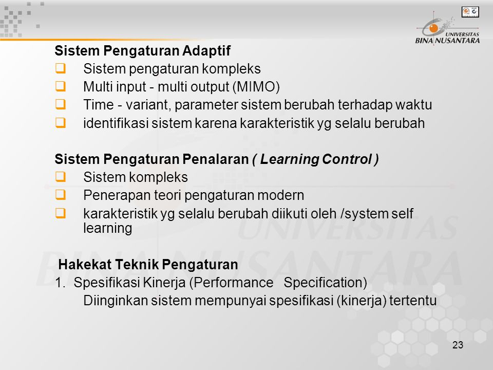 Sistem Pengaturan Adaptif