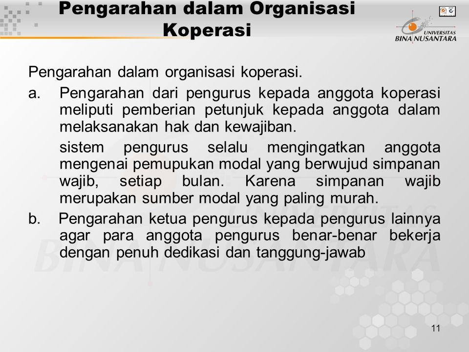 Pengarahan dalam Organisasi Koperasi