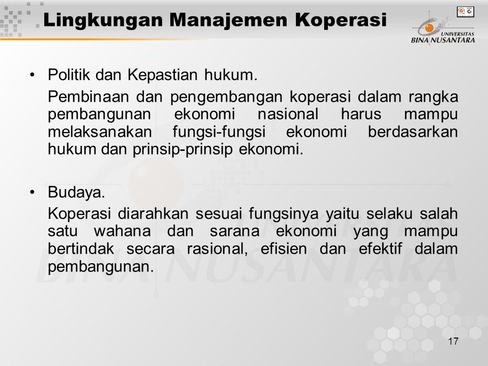 Lingkungan Manajemen Koperasi